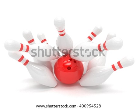 Bowling ball and skittles isolated. 3d rendering. - stock photo