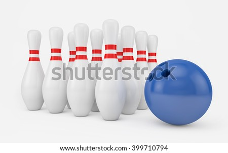Bowling ball and skittles isolated on white with clipping path. 3d rendering - stock photo