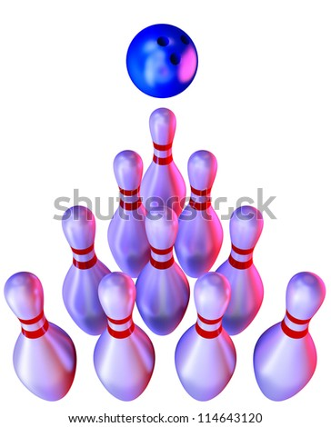 bowling ball and skittles on white background - stock photo