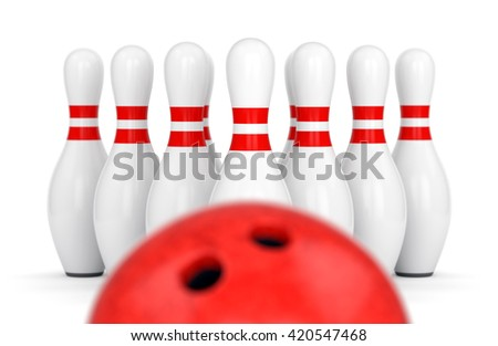 Bowling ball and ten pins isolated on white background with selective focus. Targeting, strategy and progress concept. 3D illustration - stock photo