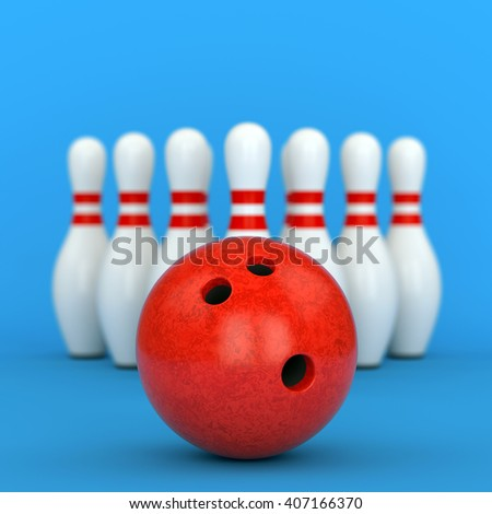Bowling ball and ten pins with red stripes on blue defocused background. 3D illustration - stock photo