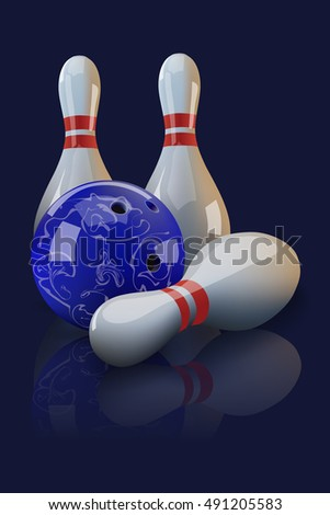Bowling ball and three pins with mirror reflection on dark blue background.