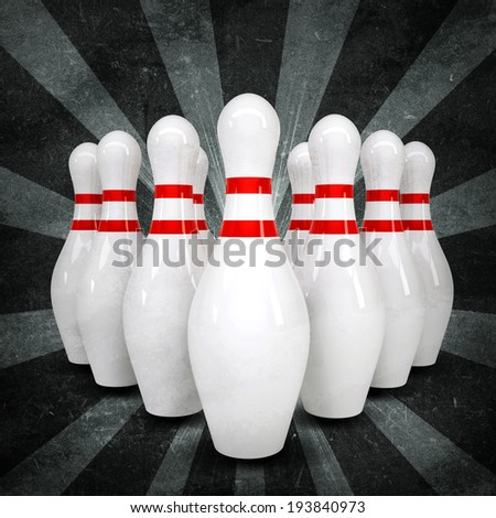 Bowling ball breaks standing pins. Sports background. Grunge style