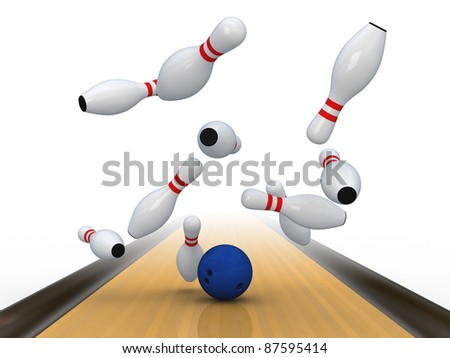 Bowling ball bring down pins. Isolated on white. - stock photo