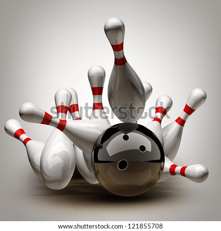 Bowling Ball crashing into the pins. High resolution 3d - stock photo