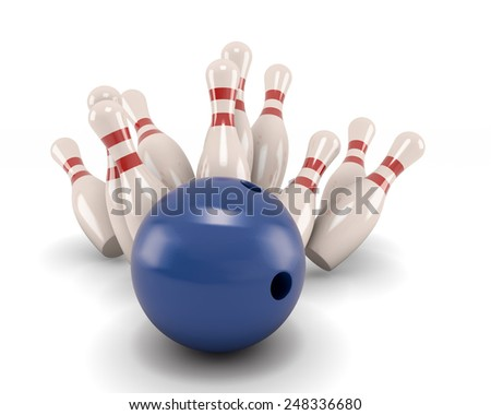 Bowling ball crashing into the pins isolate on white. 3d illustration. - stock photo