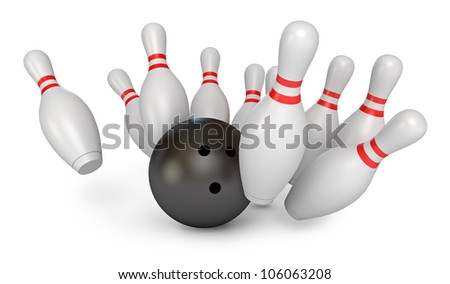 Bowling Ball crashing into the pins. Isolated on white background. 3d render - stock photo