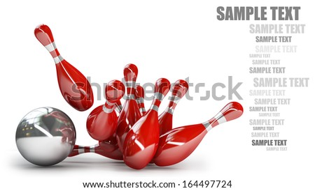 Bowling Ball crashing into the pins isolated on white background High resolution 3d  - stock photo
