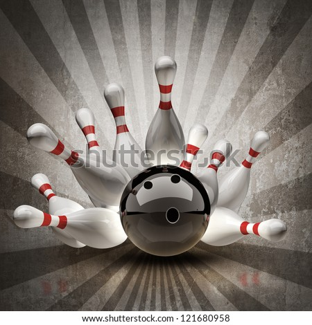 Bowling Ball crashing into the pins on vintage background. High resolution 3d - stock photo