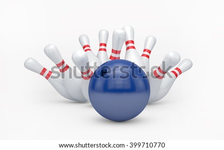 Bowling ball hits skittles isolated on white with clipping path. 3d rendering - stock photo
