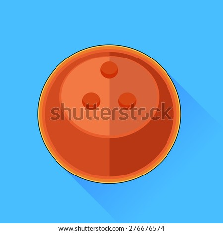 Bowling Ball Icon Isolated on Blue Background. - stock photo
