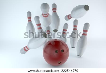Bowling ball knocking the skittles/Bowling -  - stock photo