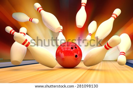 Bowling ball knocks down skittles - stock photo