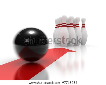 Bowling ball moving precisely to the target - stock photo
