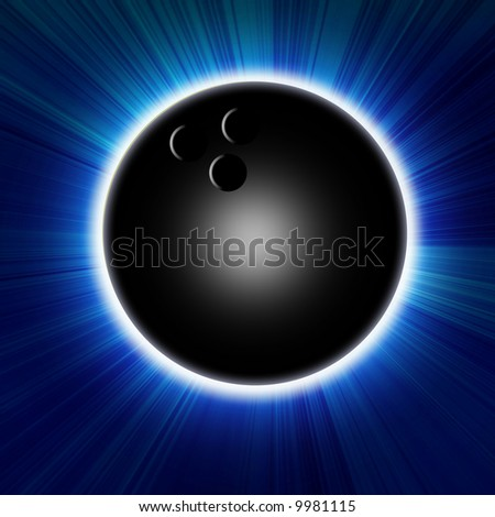 Bowling ball on a light blue background