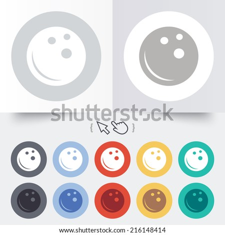 Bowling ball sign icon. Bowl symbol. Round 12 circle buttons. Shadow. Hand cursor pointer.