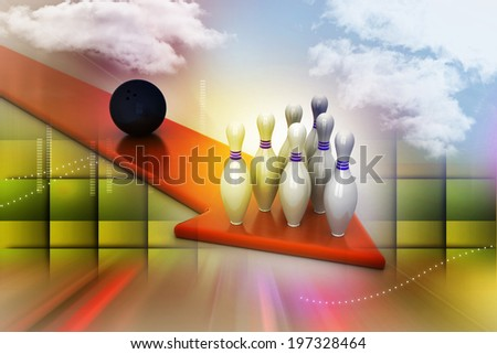 Bowling ball target concept - stock photo