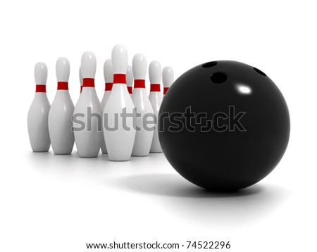 Bowling ball with bowling pins isolated on white background - stock photo