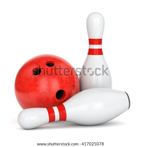 Bowling ball with marble texture and pair of pins with red stripes isolated on white background. 3D illustration - stock photo