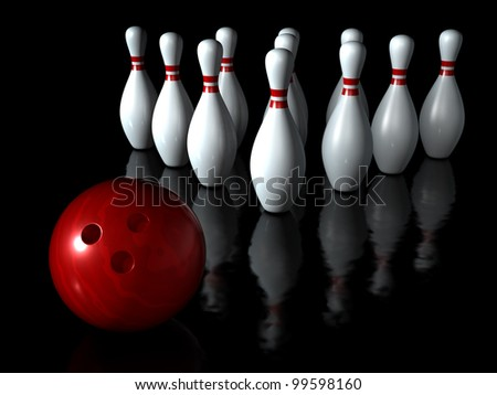 Bowling ball with pin sport on the dark background - stock photo