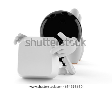 Bowling character with blank keyboard key isolated on white background. 3d illustration