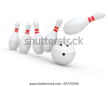 Bowling. 3D illustration on white background
