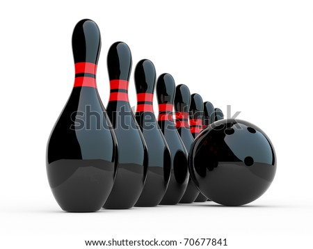 Bowling. 3D illustration on white background. Game - stock photo