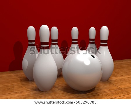 Bowling. 3D rendering.