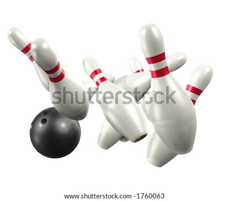Bowling 3D (with clipping path) - stock photo