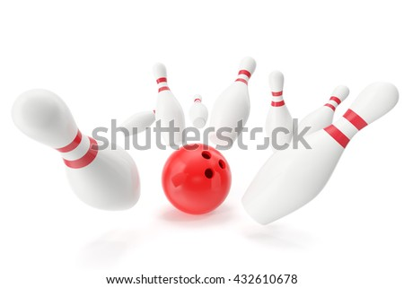 Bowling game, red bowling ball crashing into the skittles. 3d illustration - stock photo