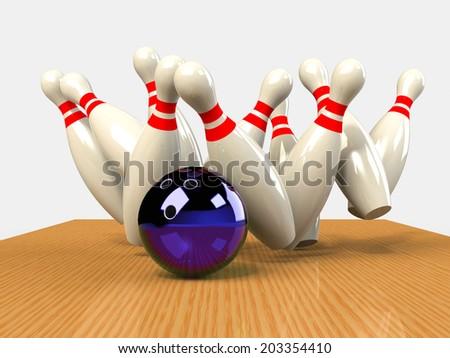 Bowling  Game Strike rot - stock photo