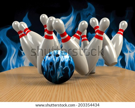 Bowling  Game Strike rot - stock photo