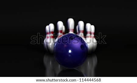 Bowling in place skittle and bowling ball blue on black background. 3d perspective - stock photo