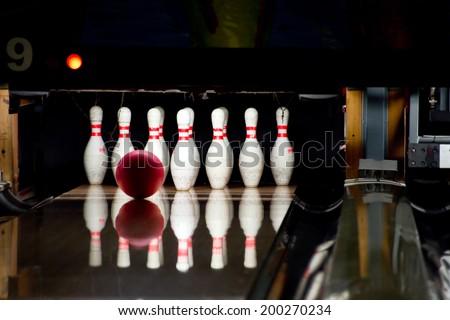 Bowling line - stock photo