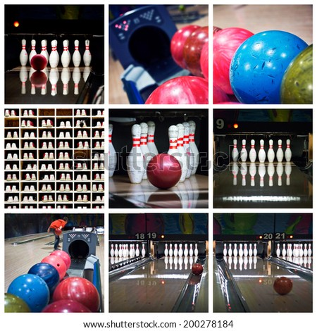 Bowling photos collage - stock photo