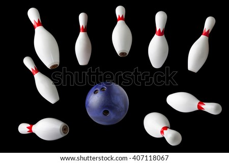 bowling pins and ball isolated on black background