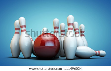 bowling pins isolated on blue background - stock photo