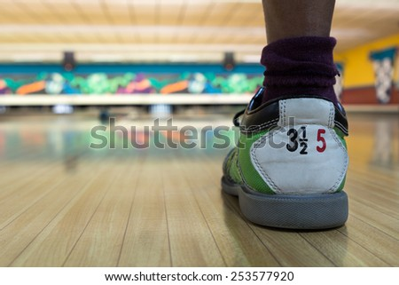 bowling shoe on lane - stock photo