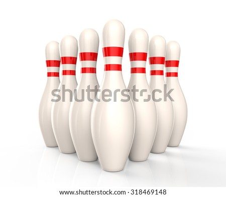 Bowling skittles isolated on a white background - stock photo