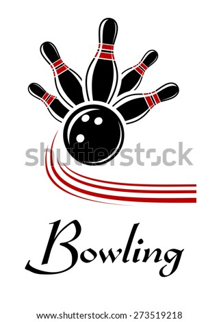 Bowling sports symbol with flying ball and pins, text below - stock photo