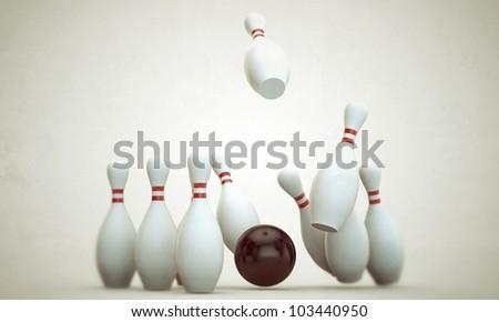 bowling stuff isolated on white background - stock photo