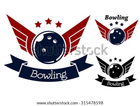 Bowling symbols with wings for sporting heraldry design - stock photo