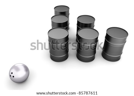 Bowling with oil Barrels. 3D rendered illustration. Isolated on white.
