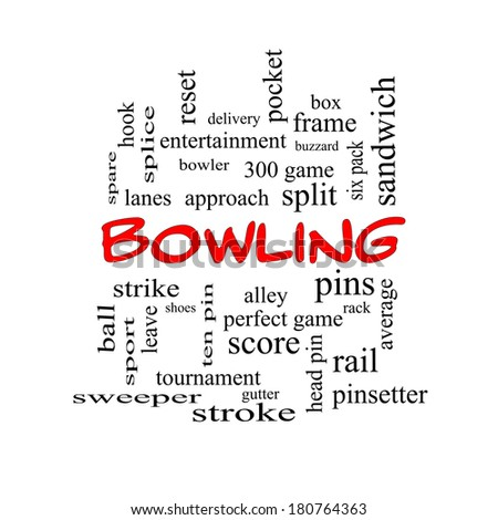 Bowling Word Cloud Concept in red caps with great terms such as frame, strike, ball and more.