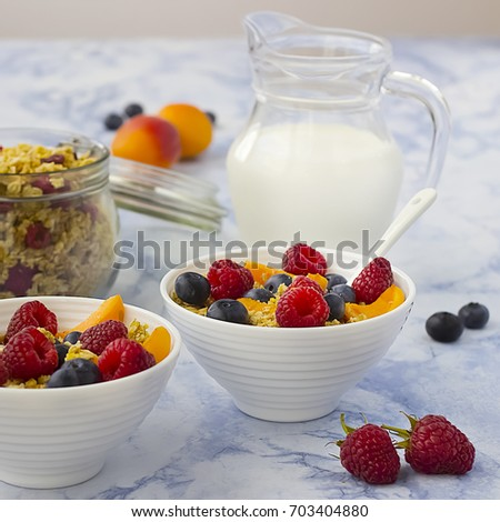 Bowls of  granola  with dry raspberries, cranberries and blueberries and fresh fruit on marble table. Soft focus.