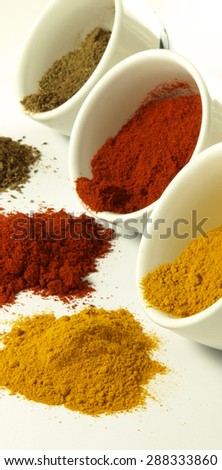 Bowls of hot and colorful indian spices - stock photo