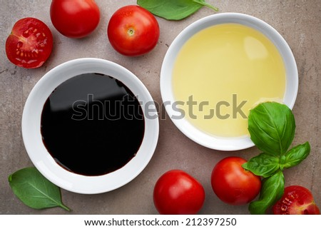 bowls of oil and balsamic vinegar - stock photo