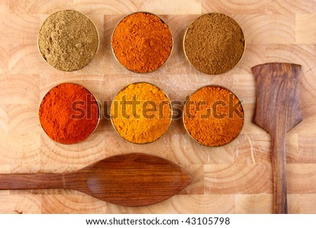 bowls of spicy ingredients on wooden tray with wooden spoons side by