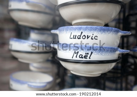 Bowls with names on sale - stock photo