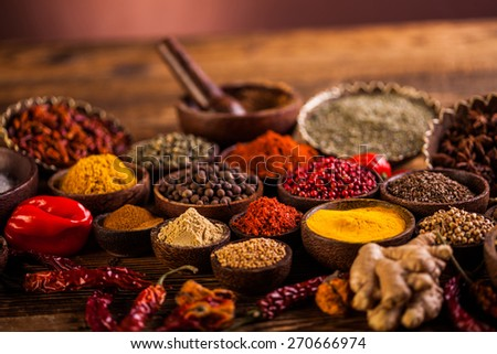 Bowls with various spices - stock photo